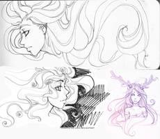 Flowing Hair Elf Girl Sketches by Tsubasa-No-Kami
