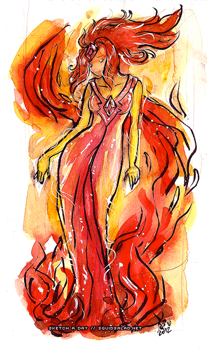 Flame Princess Watercolor Art Noveau by Tsubasa-No-Kami