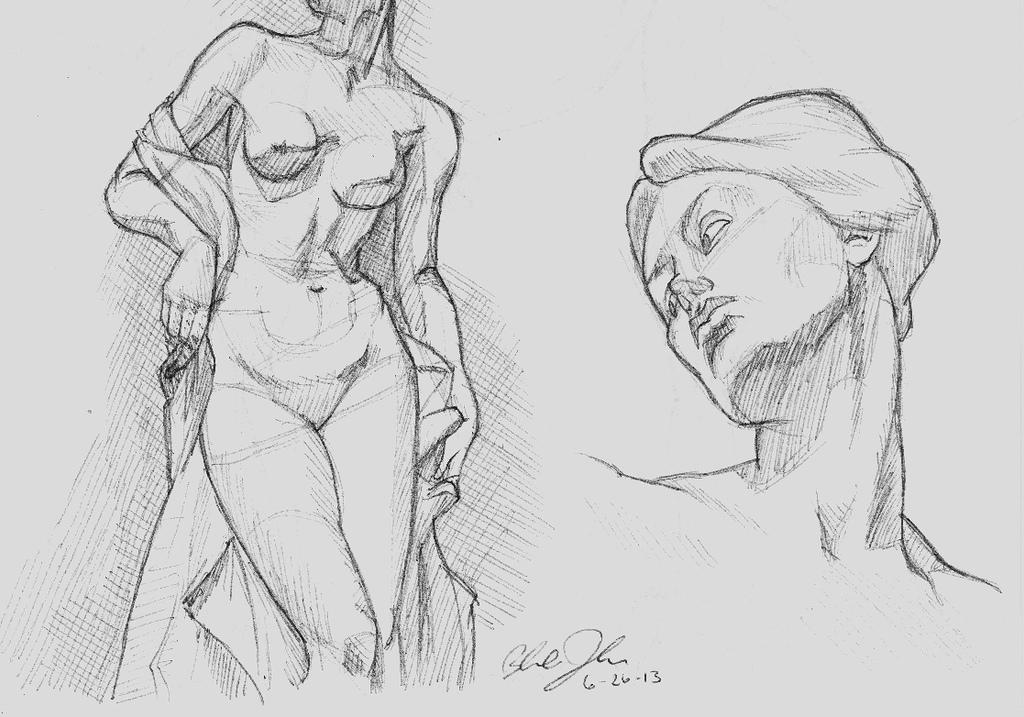 Line Art Figures : Figure study sketch the bather by bapplejuice on deviantart