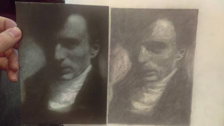 Edward Steichen's Self Portrait Study side-by-side