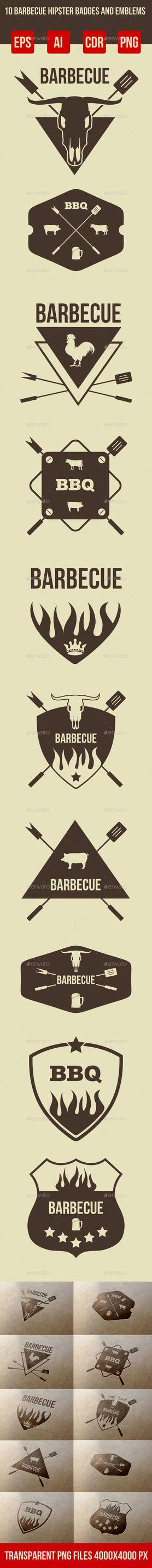 10 Barbeque Hipster Vector Emblems Vol.3 by petyaivanova