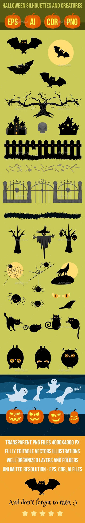 Halloween silhouettes and creatures by petyaivanova