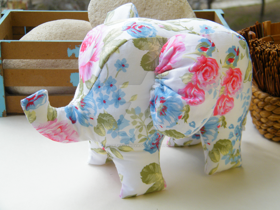 Handmade Elephant Stuffed Toy Home Decor by petyaivanova