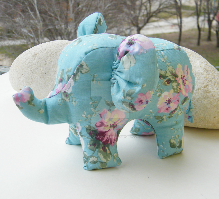 Handmade Elephant Stuffed Toy by petyaivanova