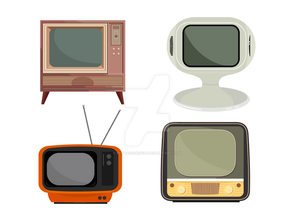 Retro TV Vector Set by petyaivanova