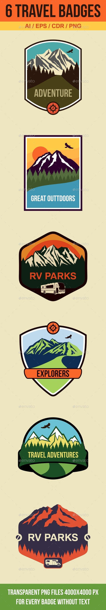 6 Travel Badges and Emblems by petyaivanova