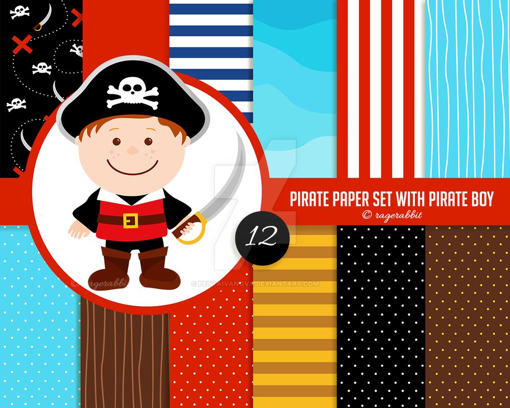 Pirate Digital Paper with Pirate Boy by petyaivanova