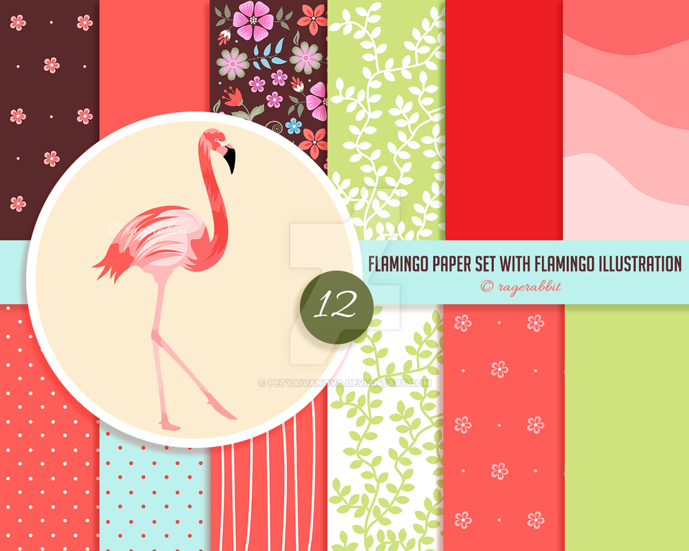 Flamingo Digital Paper and Flamingo Illustration by petyaivanova