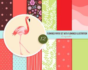 Flamingo Digital Paper and Flamingo Illustration