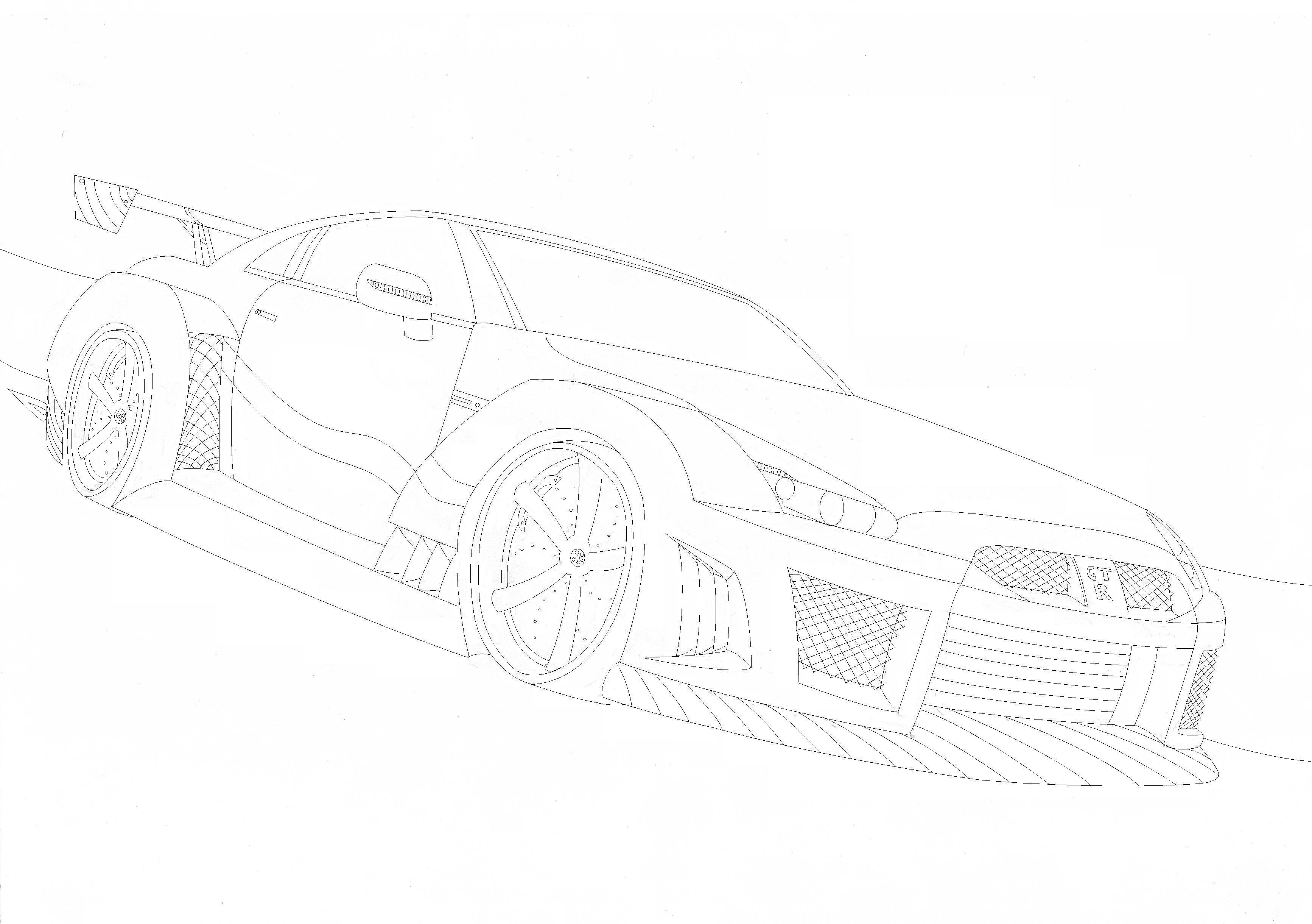 Gtr outline images reverse search for Coloring pages nissan gtr