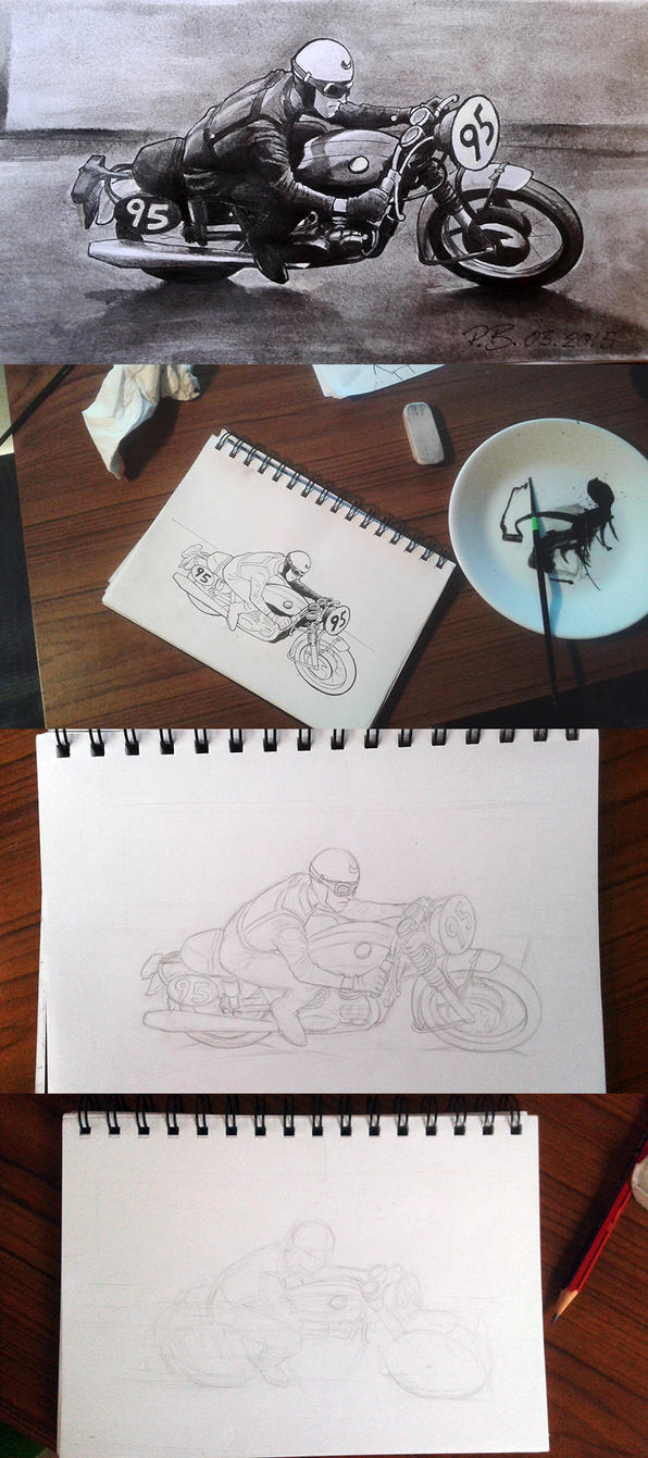 Evolution of a motorbike sketch by UptownPete