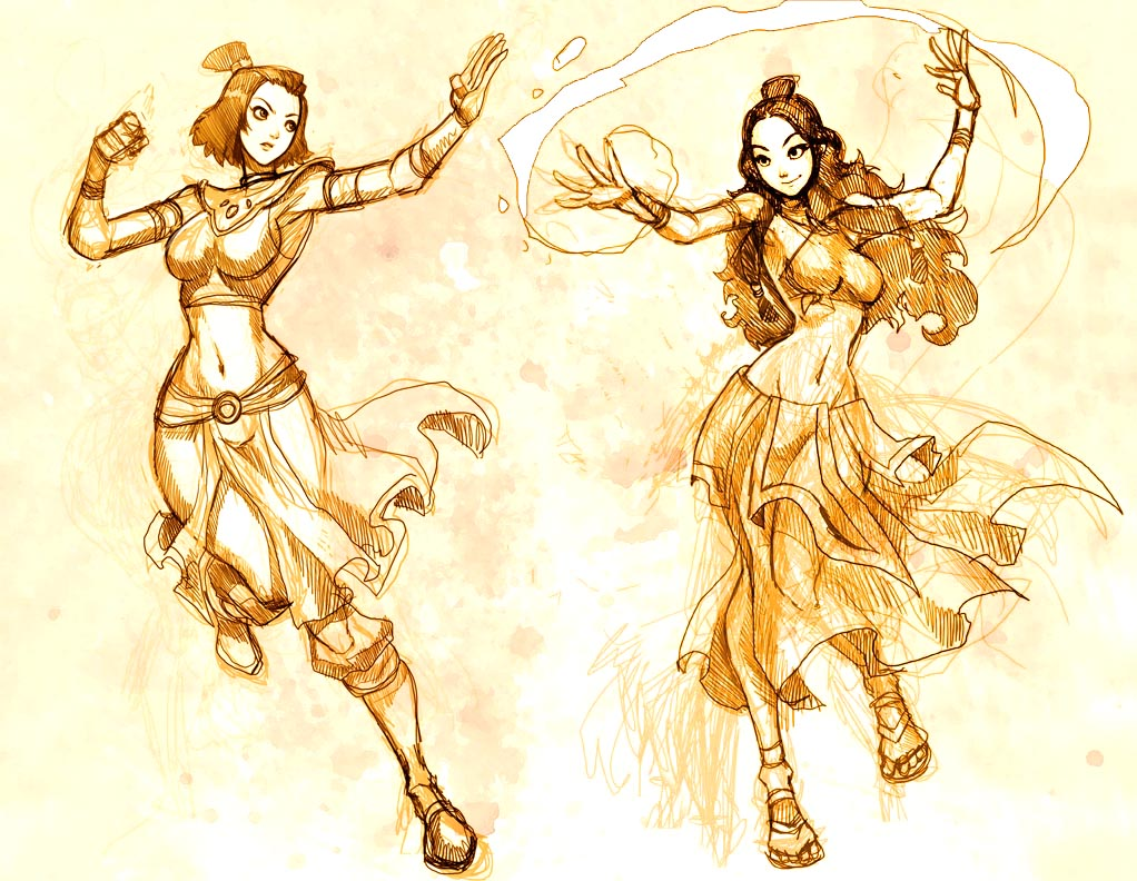 Katara and Suki fire Sketch by GENZOMAN