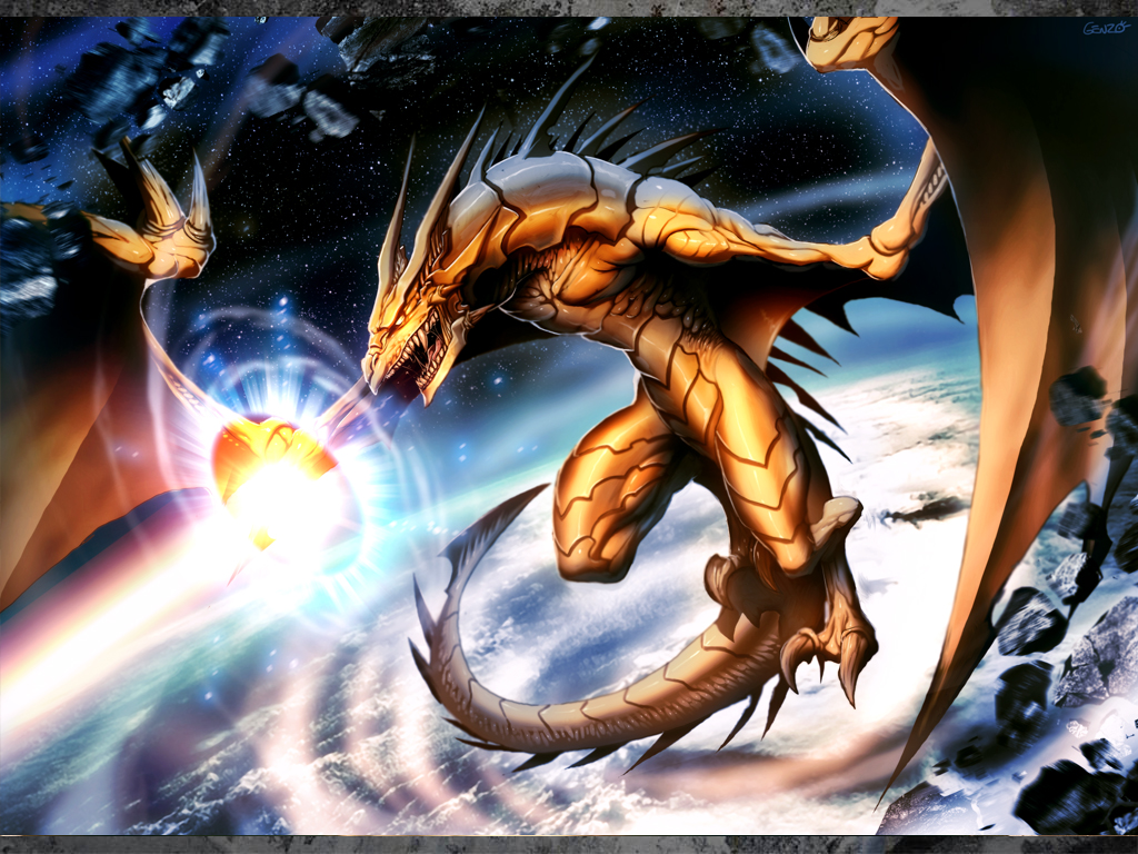 Golden dragon by genzoman on deviantart for Space blast 3d