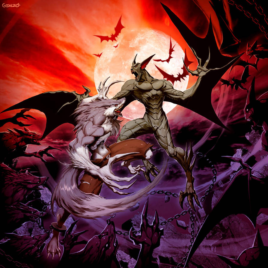 Vampire VS Werewolf by GENZOMAN