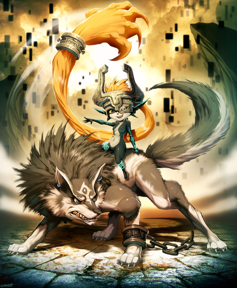 Zelda - Midna and Wolf Link by GENZOMAN