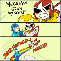 Mega man grab my scarf