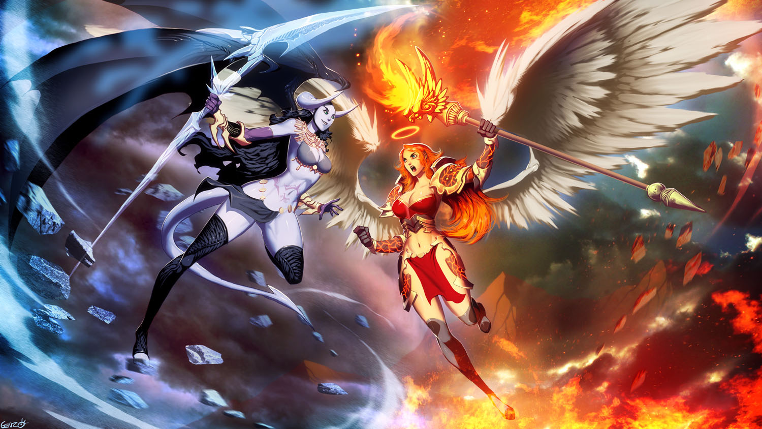 Galeria de Arte: Ficção & Fantasia 1 - Página 3 Ice_demon_vs_fire_angel_by_genzoman-d69vqkw
