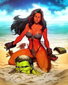 Red She-Hulk Plus - Hit The Beach