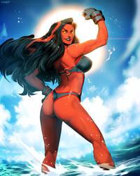Red She-Hulk - Hit The Beach by GENZOMAN
