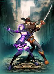 Cowboy Samurai X Badass Android by GENZOMAN