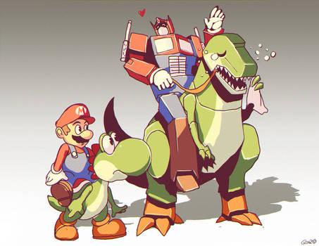 Optimus Mario and Yoshi Grimlock by GENZOMAN