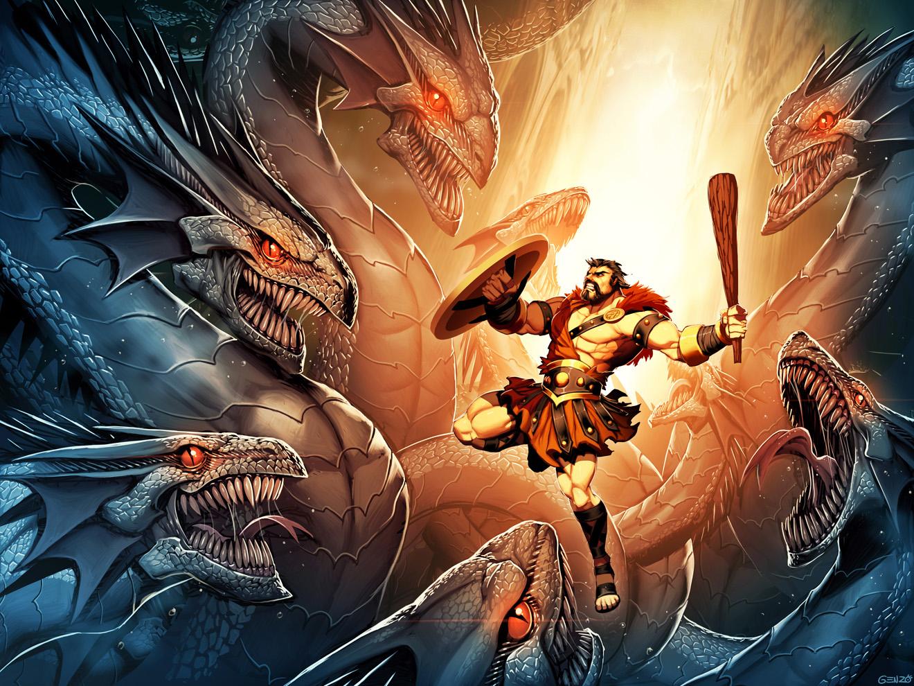 Hercules and Hydra by GENZOMAN on DeviantArt
