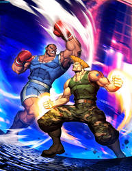 Street Fighter Unlimited 2 cover - Guile vs Balrog by GENZOMAN