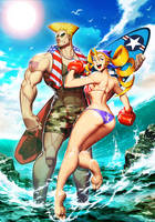 Street Fighter Swimsuit Special Tiffany and Guile