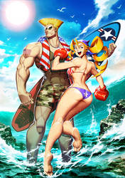 Street Fighter Swimsuit Special Tiffany and Guile by GENZOMAN