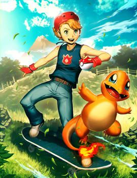 Skate and Charmander by GENZOMAN