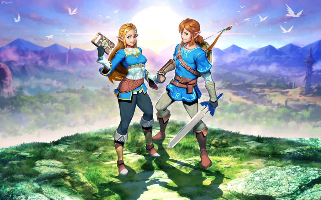 Breath of the Wild - Zelda and Link by GENZOMAN