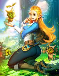 Zelda and koroks by GENZOMAN