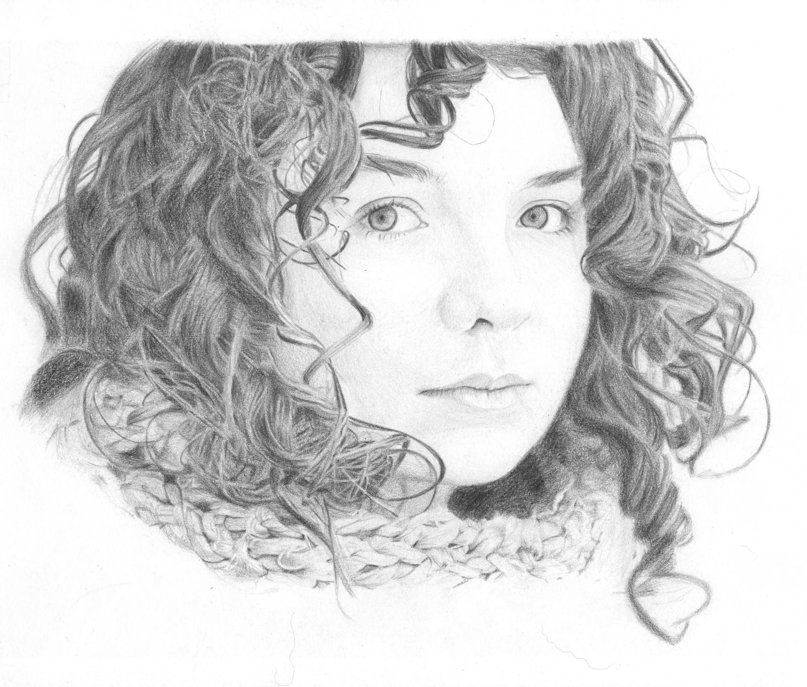 Drawing of a Little Girl With Curly Hair Curly Hair Girl by Keava Rayne