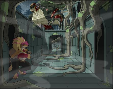 Sneaking through the ruins