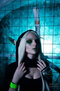 Sylvanas Windrunner Cyberpunk style