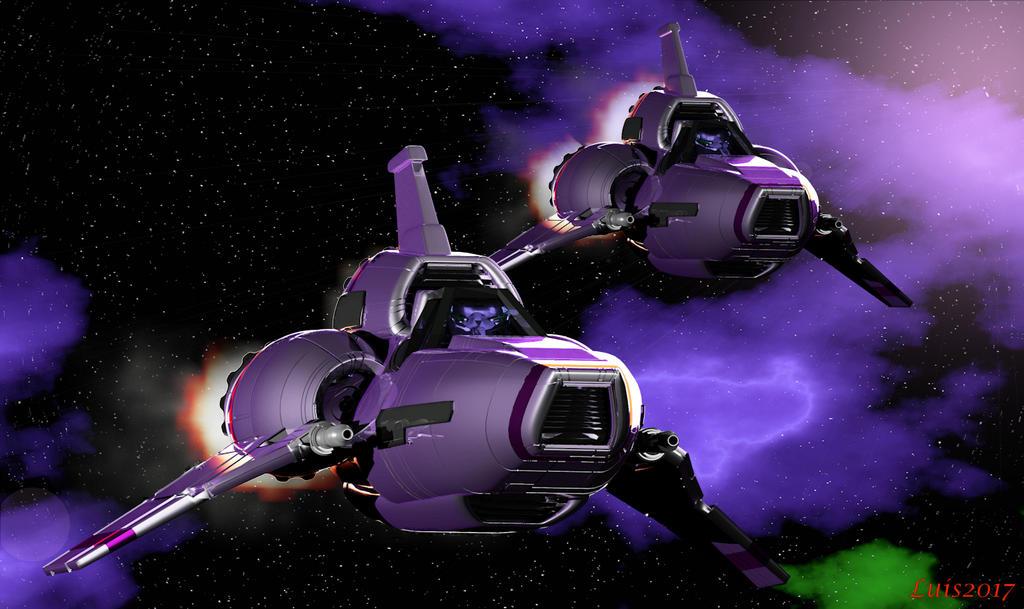 Colonial Viper flight in purple nebula by OLGWoodArt