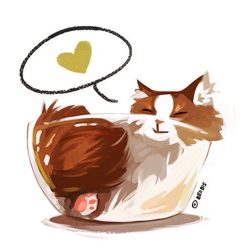 Happy Bowl Cat by beiibis