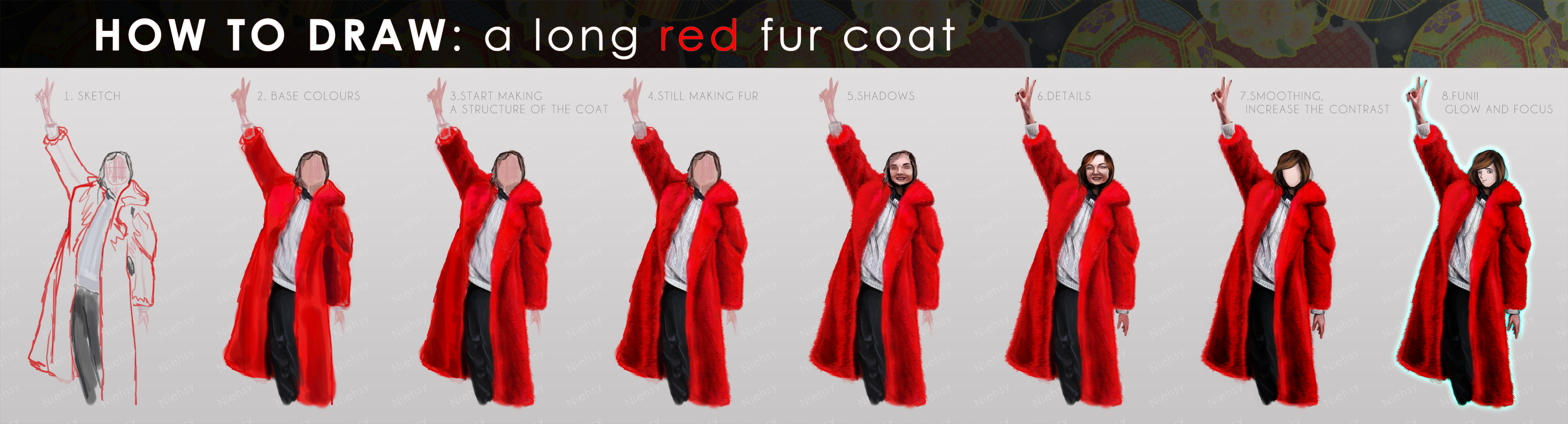 How To Draw: A Long Red Fur Coat By Niehsy