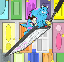 Alex and Kim as Sully and Boo by OHea