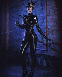 Cat-woman cosplay from Batman returns.