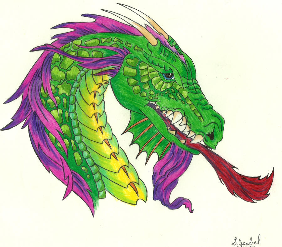 DRAGON HEAD IN COLOUR by S-Isabel on DeviantArt