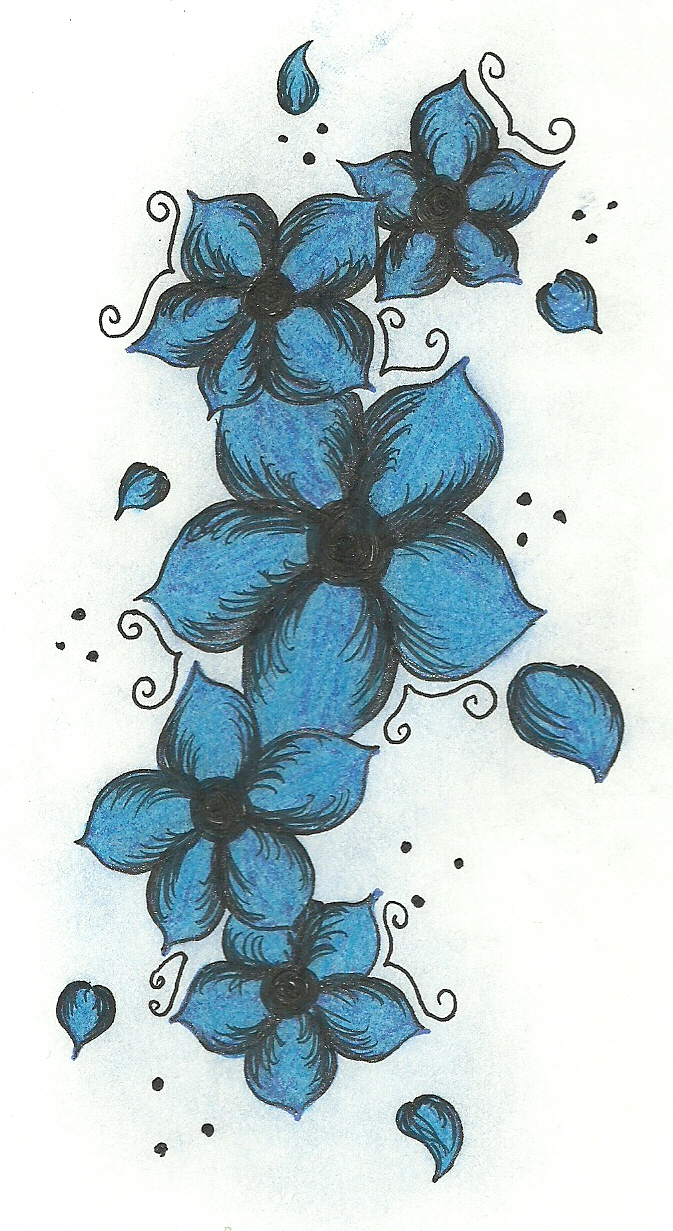 BLUE FLOWERS TATTOO DESIGN by