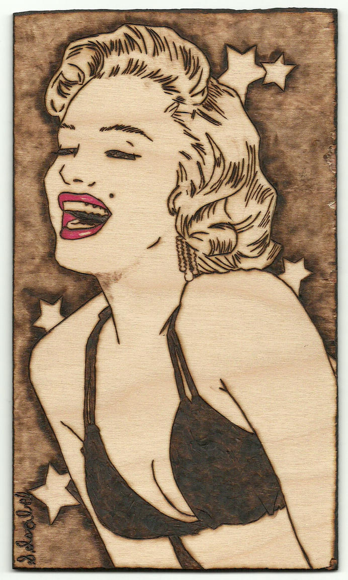 Marilyn Monroe woodburning by S-Isabel
