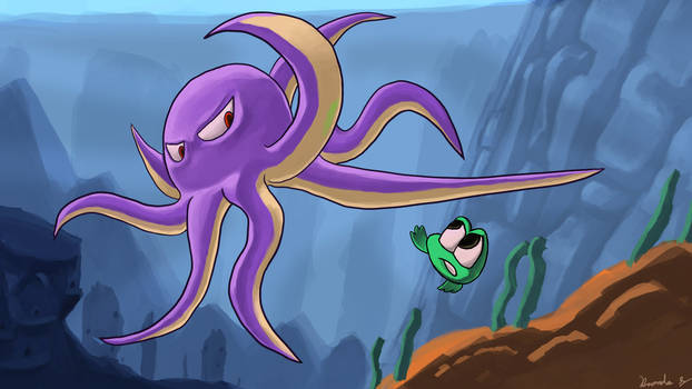 Frog Hop: Octopus Fight by wolfwoot