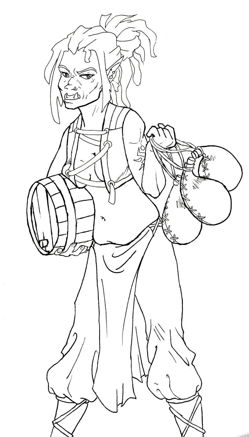 Line Drawing Female : Orc female line art by darkchicken on deviantart