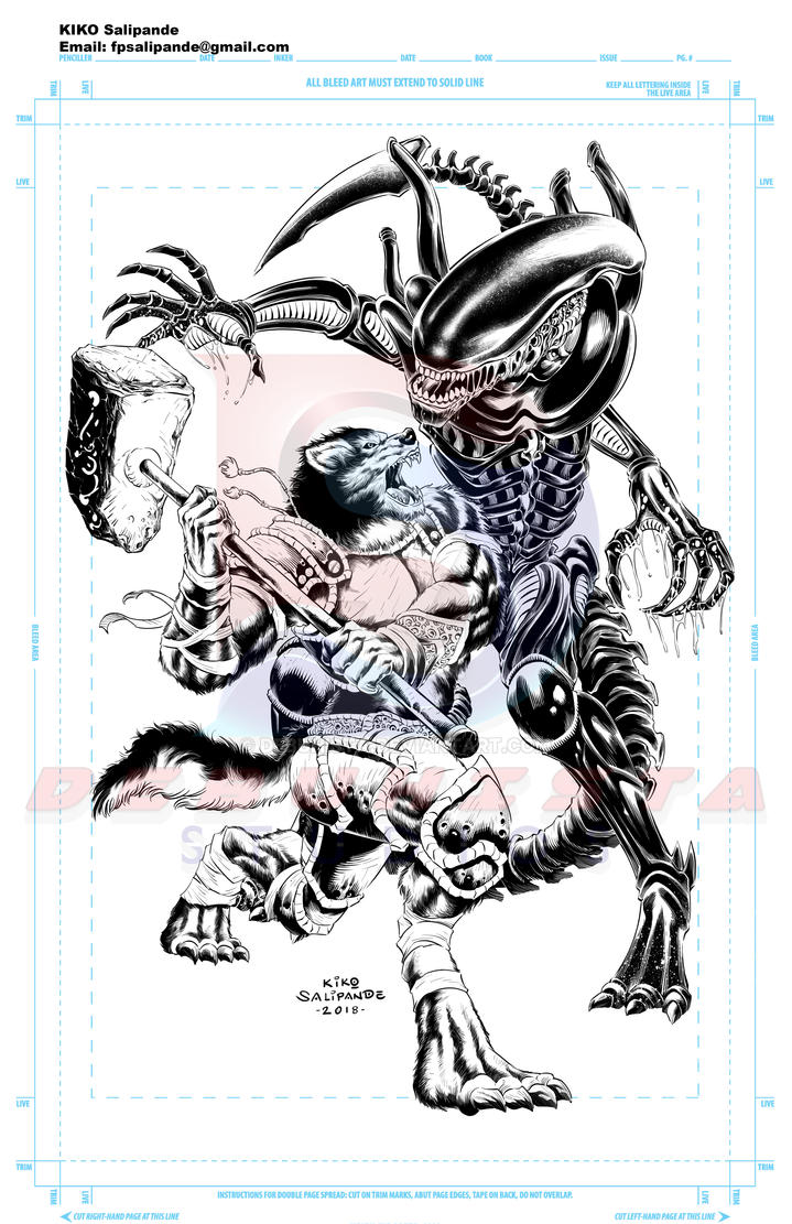 Commission Art_Anthrowolf fighting an Alien_Inks by debuhista
