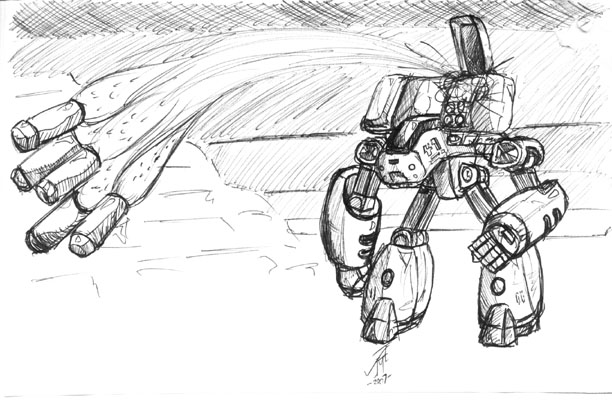 Mecha Drawing by AlphaCentaurian