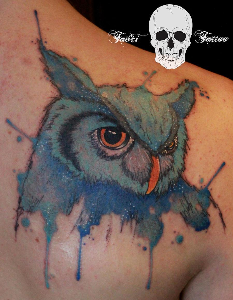 Watercolor owl tattoo by simonaborstnar on deviantart for Watercolor owl tattoo