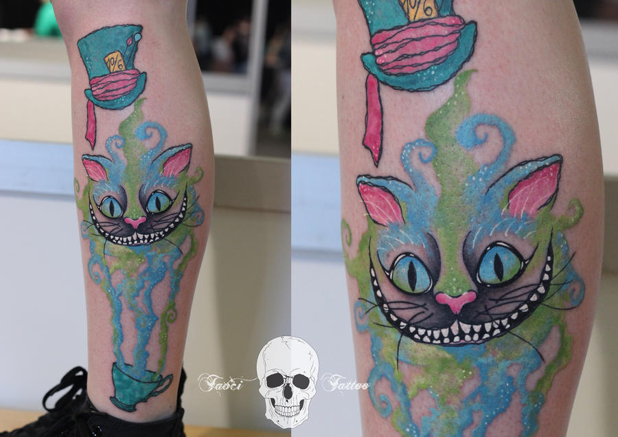 Cheshire cat watercolor tattoo by simonaborstnar on deviantart for Watercolor cat tattoo
