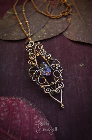 Copper pendant with ametrin - Mystery - by Strangell